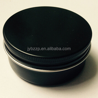 Black Round Aluminum Tin 2oz Cosmetic