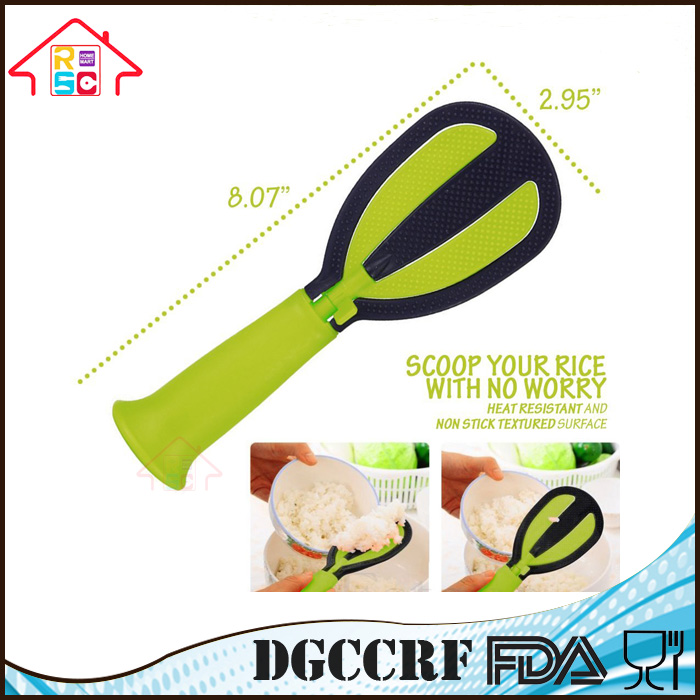 NBRSC Kitchen Multifunctiona Food Grade Plastic Non-Stick PP Foldable Scoop Rice Spoon and Whisk