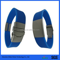 adjustable children engrave id metal plate silicone wrist band