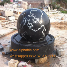 World map design black granite rotating ball fountain
