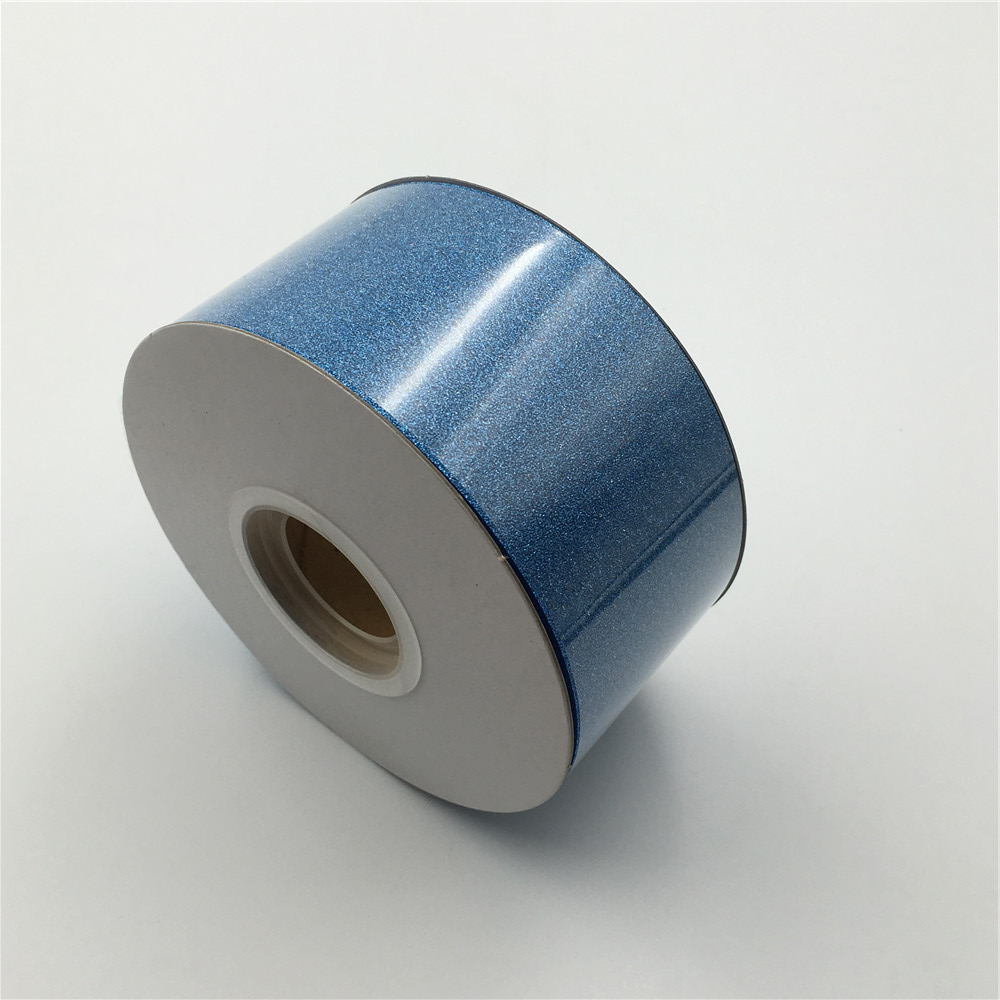 Fashion design pet film packing glitter blue Christmas poly ribbon