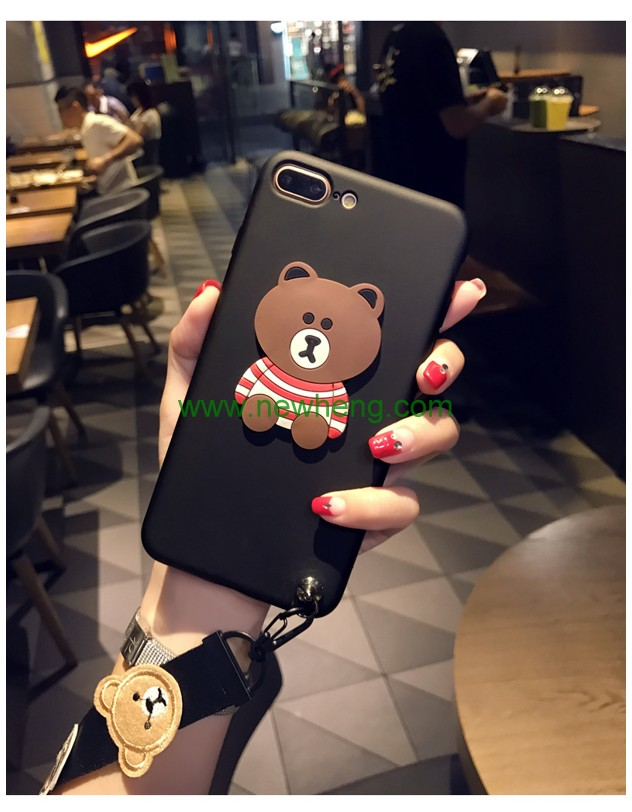 Hot selling 3d bear pattern silicone mobile phone case for iphone 7 7 plus