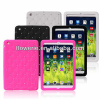 FL2382 2013 Guangzhou hot selling bling crystal diamond soft gel silicone cover case for ipad mini