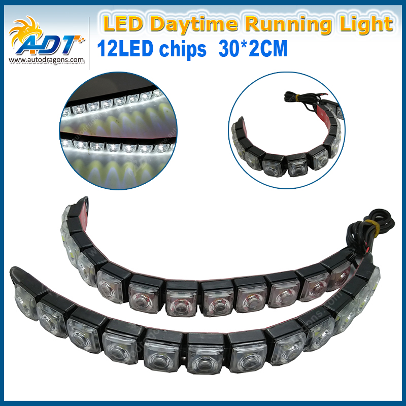 High Power 12 LED DRL Fog Light 12W Waterproof Flexible Daytime Running Lights For Universal Car