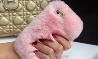 Luxury One Side Rex Rabbit Fur With Bling Shining Diamonds Mobile Phone Case Cover For Apple Iphone 5 5s 6 6s 6plus CO-MIX-9047