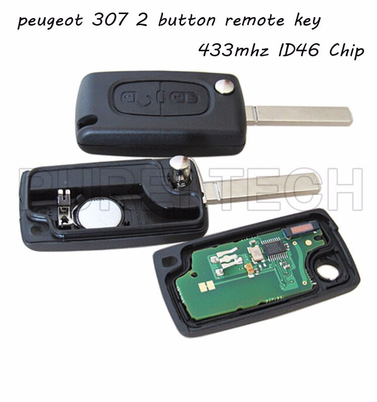peugeot model 307 car remote control flip key 2 button with electronic board chip 433mhz ID46 chip