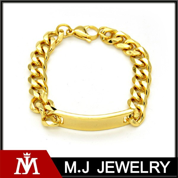 18k Gold Stainless Steel Curb Link Bracelet With ID Board