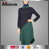 New Fashion Ladies Dress Bicolor Round Collar Islamic Clothing Navy Blue Pakistani Burqa Designs Tunic