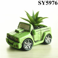 Car design green indoor mini cement plant pot wholesale