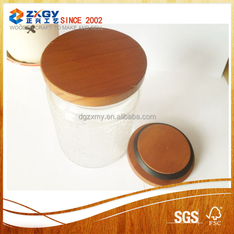 Pine Wooden lids match with glass container,candle jars