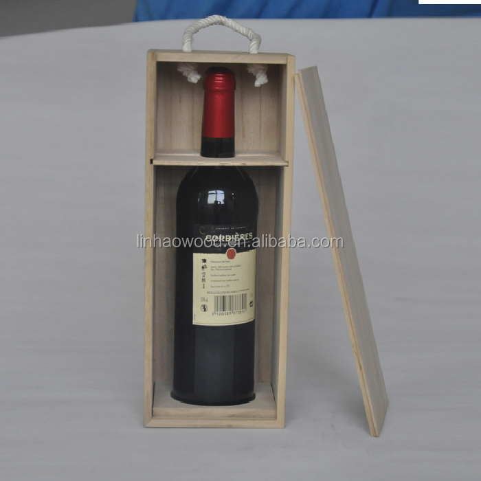 wooden wine box with rope handles on the sides natural color