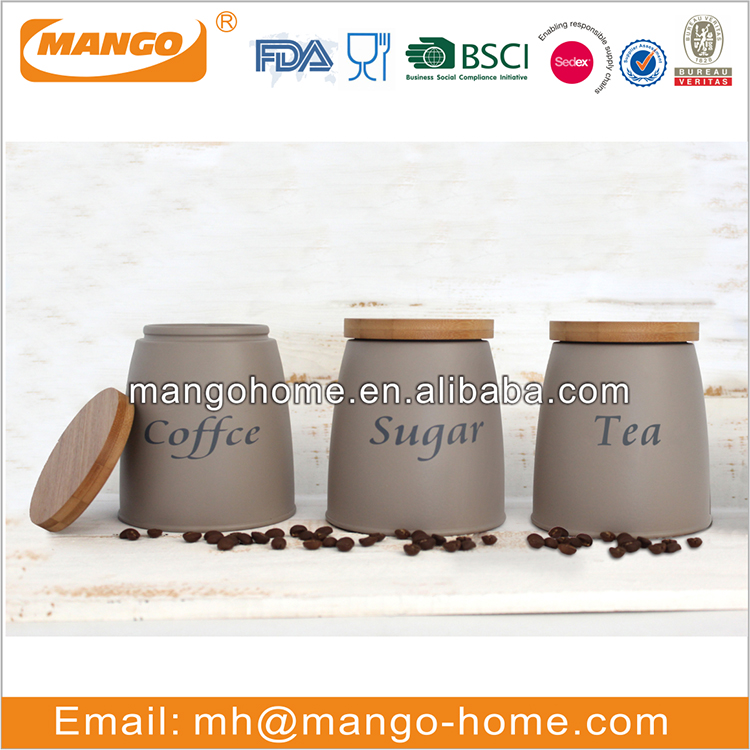 Bamboo cover galvanized metal coffee sugar tea canister / jar