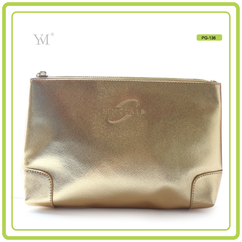 best selling shiny gold cosmetic bag new style fashion ladies handbags