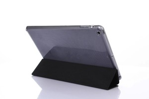 Stocks Sale MOQ 1pcs Leather Case Side Flip Stand PU Leather Cover Case Soft Transparent TPU Back Cover for iPad 2/3/4