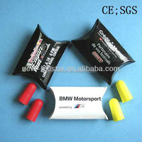 PU foam earplugs in cardbaord box with logo printed F-10