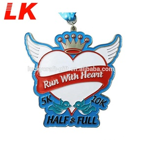 Cheap customize sports casting soft enamel love run medals with ribbon