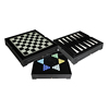 Family Game 3 in 1 Leather Chess and Backgammon and Checkers Set
