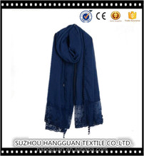 Cotton Sexy Pure Color Lace Scarf Tassel Linen Shawl Muslim Scarves Customized Factory
