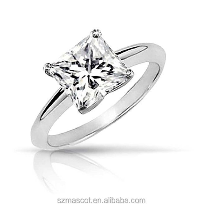 Simple Sterling Silver Square Solitaire Designs Stone CZ Ring thailand