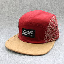 Wholesale Cheap Floral Design Your Own Suede Blank 5 Panel Cap and hat With Leather Patch