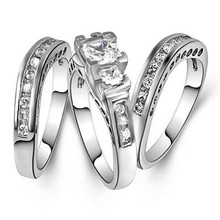 SJ JA-5057 Fashion Jelewry Pave CZ Copper Alloy Band Set Three Crystal Rings