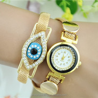 Vogue Fashion Gold Lady Quartz Watch, Bracelet Watch For Women With Evil EYE
