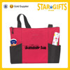 Wholesale promotional zipper polyester tote bag with bottle holder