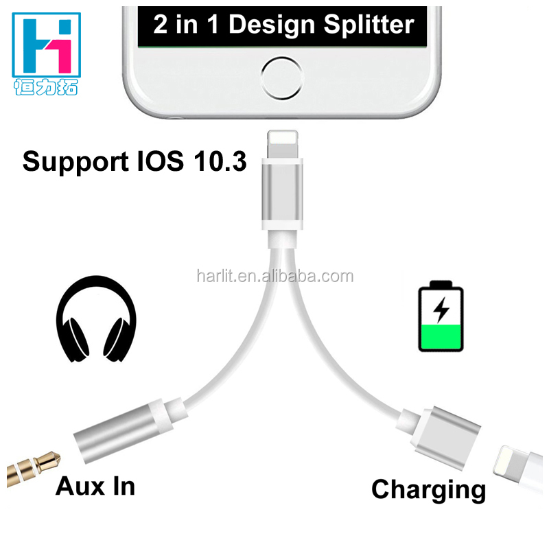 Upgraded Original Chip 2 in 1 Audio Charge Adapter For iPhone 7 IOS 10.3 Splitter Charge Cable