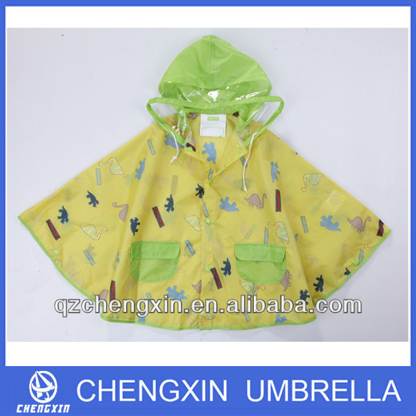 PVC hood children rain cartoon poncho