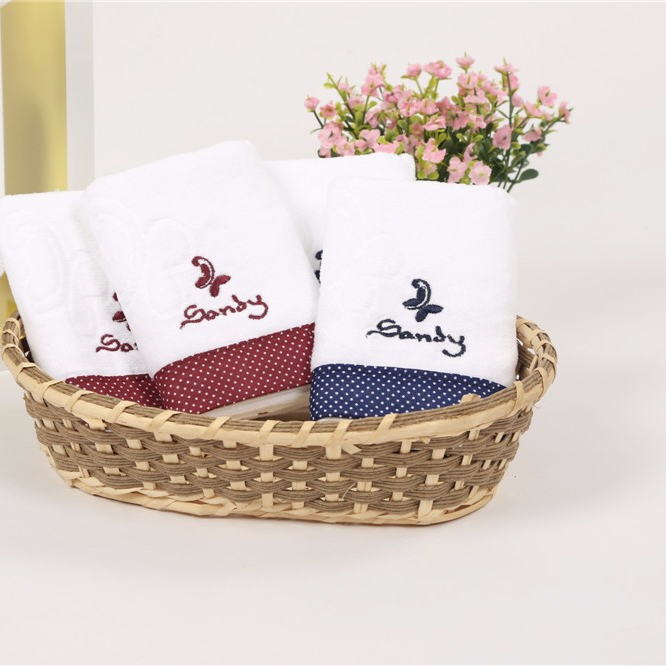 China and Japan Korea popular hot sale custom with embroidery logo face towel hand towel size 34 76 cm