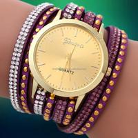 2016 New fashion wrap bracelet watch crystal rhinestone long leather women wrist quartz watches BWL006