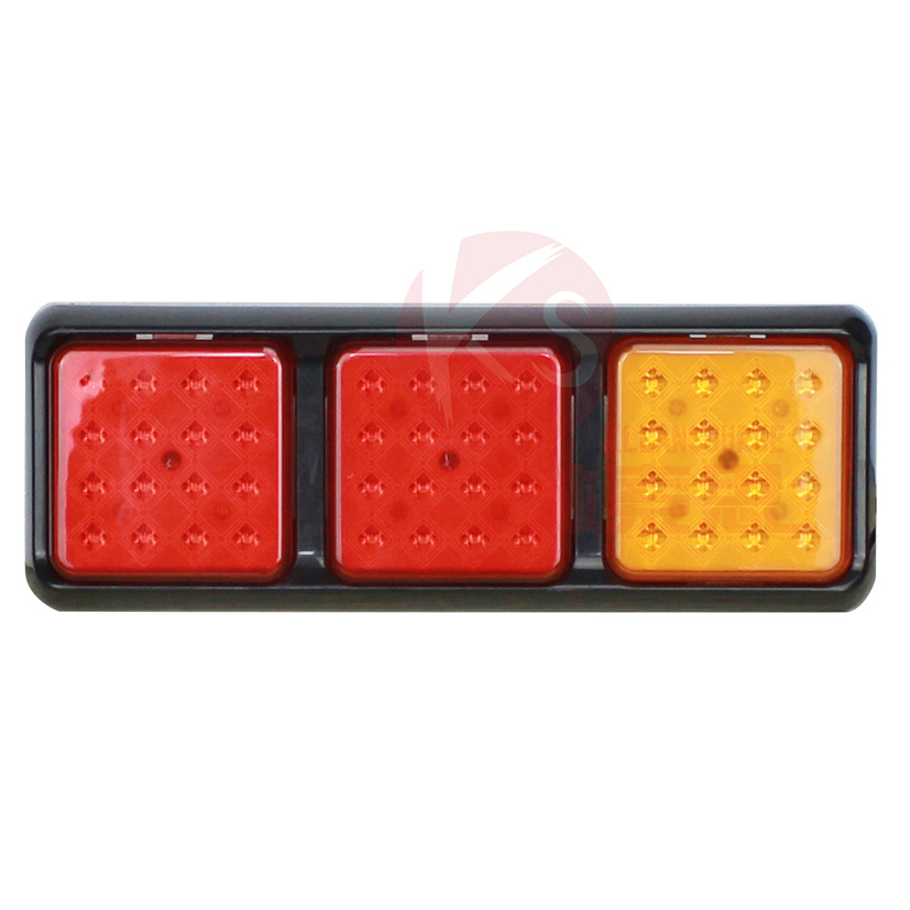 Three pod 24V PMMA lens led combination truck trailer tractor rear tail light for truck tractor