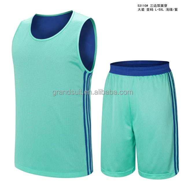 Blue youth basketball uniforms online shopping for wholesale clothing cheap reversible soft mesh basketball jersey DIY