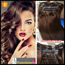 Wholesale Factory Price Remy Human Hair Silky Straight Clip-In Yaki Hair Extensions
