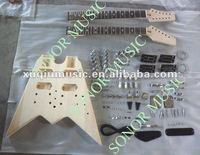 Double Neck Fly V Shape Guitar Kit,Unfinished Electric Guitar