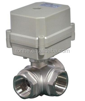 3 way 3/4'' horizontal L type motorized stainless steel 304 ball valve