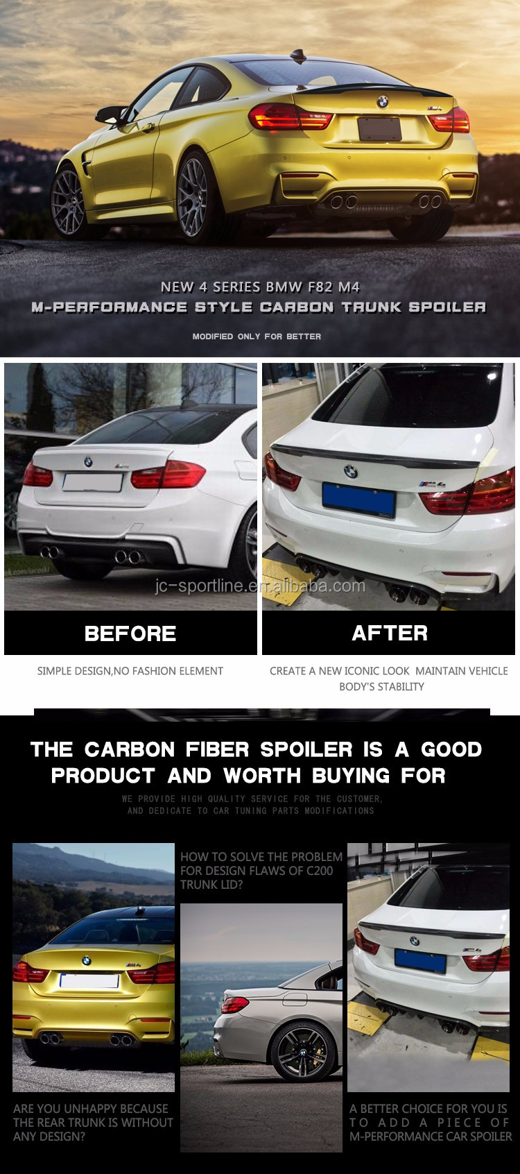 Carbon Fiber F82 M4 Ducktail Spoiler for BMW M4