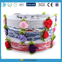 Luxury princess lace flower band PU leather pet dog cat collar by pet supplies factory