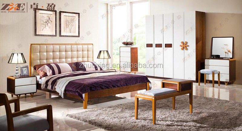 Wooden box bed set furniture design with leather