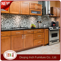 I shape birch wood kitchen cabinet with granite top