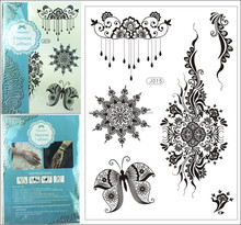 2015 New 1PC Black Lace Temporary Tattoo Mix 8 design Waterproof Transferable Sexy Body Sticker Body Decoration j015