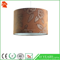 popular newest design pendant brown jacquard fabric pvc lampshade