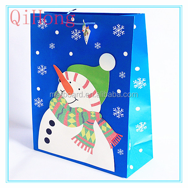 New Design christmas paper bags with handle/one dollar shop paper bag