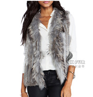 CX-G-B-198B Wholesale Fashion Animal Knitted Vest Rabbit And Raccoon Fur Vests