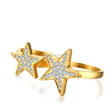 Wholesale 18kgp gold star double finger ring rings design for women with price