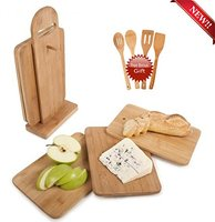 Premium 6 piece bamboo cutting boards sets with stand holder