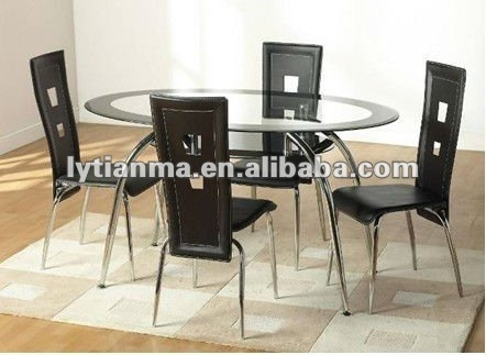 Fashionable Transparent Tempered Glass Dining Table and Chair