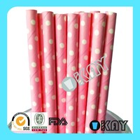 Back to School Paper Straws Pink Dot