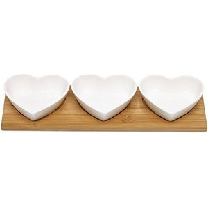 Kitchen Heart Shaped Ceramic Bowls With Wooden Serving Tray Ceramic Set of 3