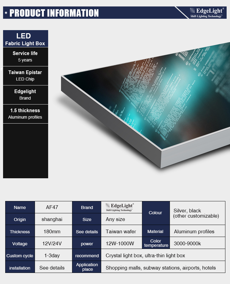Large dimension LED Light Box Advertising for Display